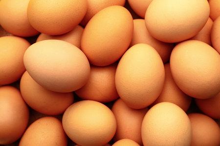 Photo pour Fresh eggs as background, closeup - image libre de droit