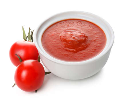 Photo for Bowl with tasty tomato sauce on white background - Royalty Free Image