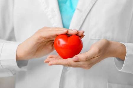 Photo for Female cardiologist with red heart closeup - Royalty Free Image