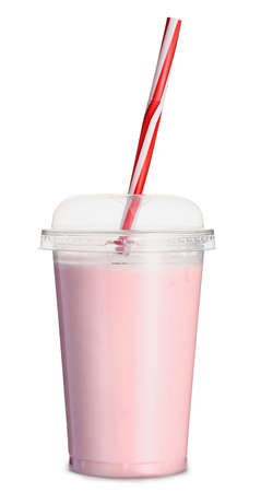 Photo pour Cup of tasty milkshake on white background - image libre de droit