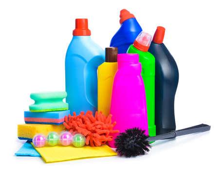 Photo pour Set of cleaning supplies on white background - image libre de droit