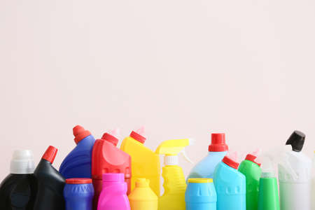 Photo pour Set of cleaning supplies on light background - image libre de droit