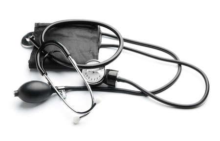 Photo pour Sphygmomanometer and stethoscope on white background - image libre de droit
