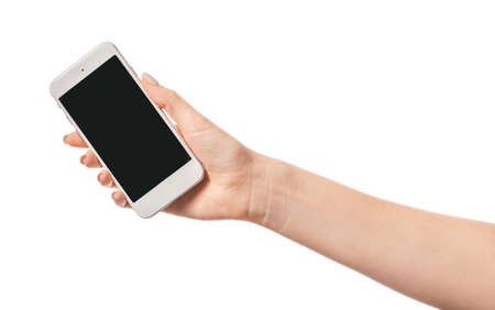 Photo pour Female hand with mobile phone on white background - image libre de droit