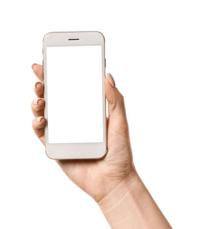 Photo for Female hand with mobile phone on white background - Royalty Free Image