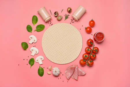 Photo for Ingredients for tasty pizza on color background - Royalty Free Image