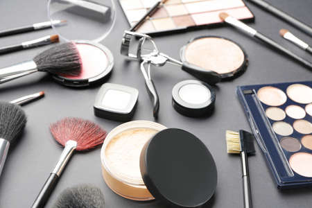 Photo for Set of decorative cosmetics on dark background - Royalty Free Image