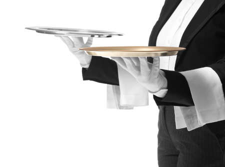 Photo pour Male and female waiters with empty trays on white background - image libre de droit
