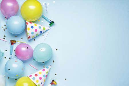 Photo pour Birthday composition on color background - image libre de droit