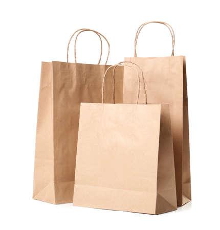 Photo pour Paper shopping bags on white background - image libre de droit