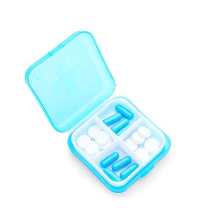 Photo pour Container with pills on white background - image libre de droit