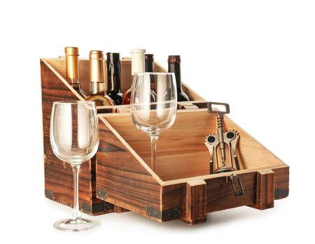 Foto für Box with bottles of wine and glasses on white background - Lizenzfreies Bild