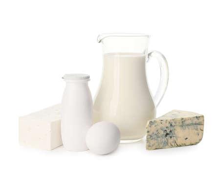 Photo pour Different dairy products without lactose on white background - image libre de droit