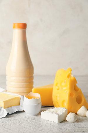 Photo pour Different dairy products without lactose on light background - image libre de droit