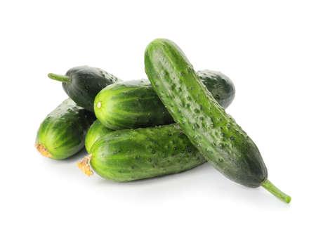Photo pour Green cucumbers on white background - image libre de droit