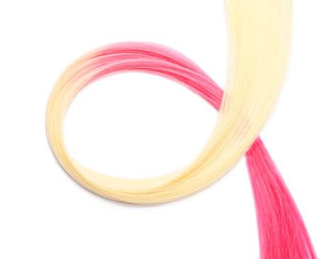 Photo pour Colorful hair strand on white background - image libre de droit