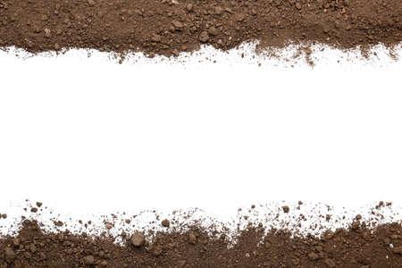 Photo pour Scattered soil on white background - image libre de droit