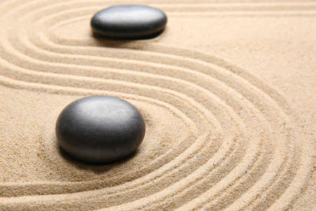 Photo for Stones on sand with lines. Zen concept - Royalty Free Image