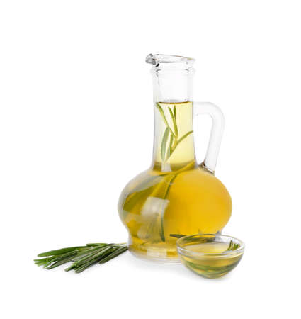 Photo for Bottle of rosemary oil on white background - Royalty Free Image