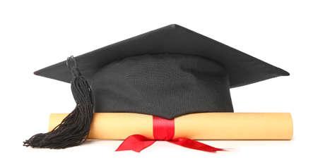 Photo pour Graduation hat and diploma on white background - image libre de droit