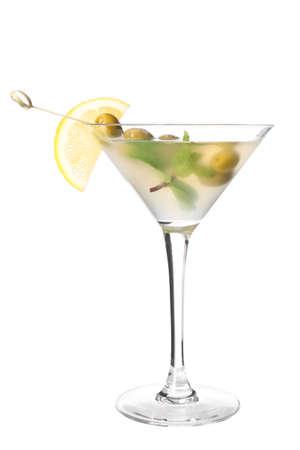 Photo pour Glass of tasty martini cocktail on white background - image libre de droit