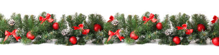 Photo pour Beautiful Christmas tree branches with decor on white background - image libre de droit