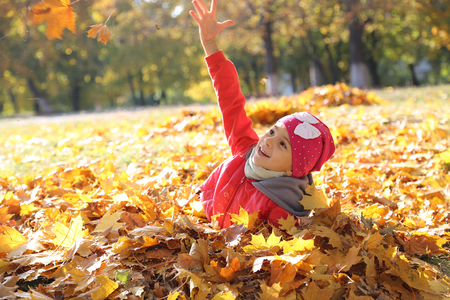 Photo pour happy little baby girl playing in autumn in yellow leaves - image libre de droit