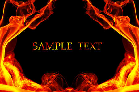 Fire in the shape of the frame. Background with place for your text