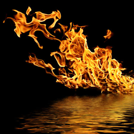 Fire on the water. Isolation on a black background.