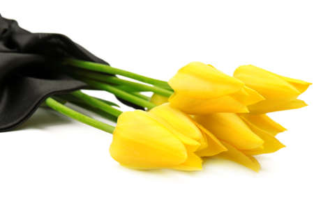 bouquet of yellow flowers for a funeral isolated on a white background