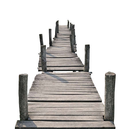 wooden foot bridge isolated on a white background