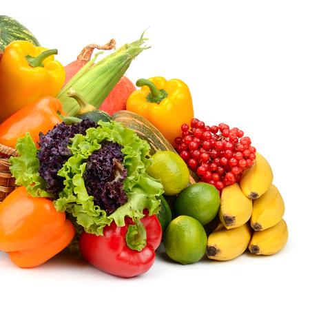 Foto für composition of fruits and vegetables in basket on white - Lizenzfreies Bild