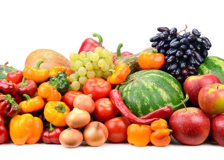 Foto für Collection fruit and vegetables isolated on white - Lizenzfreies Bild