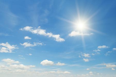 sun on beautiful blue sky