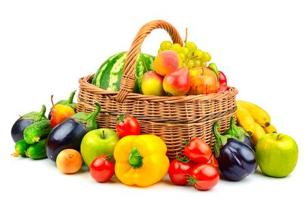 Foto für collection fruit and vegetable in basket isolated on white background - Lizenzfreies Bild