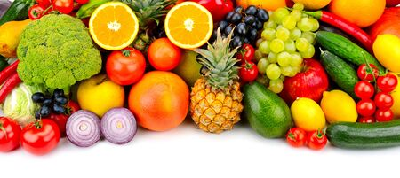 Foto für collection fresh fruits and vegetables isolated on white - Lizenzfreies Bild