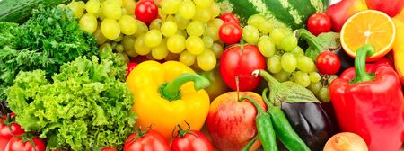 Foto per fresh fruits and vegetables background - Immagine Royalty Free