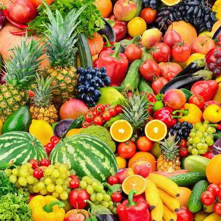 Photo for Assorted fresh ripe fruits and vegetables. Food concept background. Top view. Copy space. - Royalty Free Image