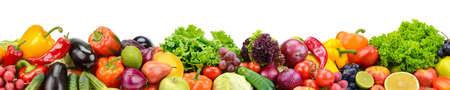 Foto de Panoramic collection fresh fruits and vegetables for skinali isolated on white background. Copy space. - Imagen libre de derechos