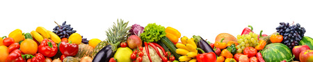 Photo pour Wide collage of fresh fruits and vegetables for layout isolated on white background. Copy space - image libre de droit