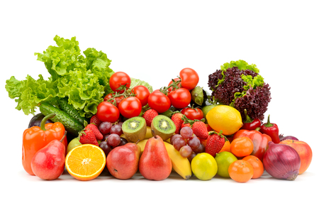 Photo for Variety healthy fruits, vegetables, berries isolated on white background. - Royalty Free Image
