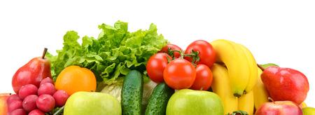Photo pour Set fruits and vegetables isolated on white - image libre de droit