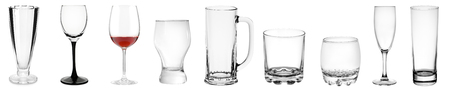 Photo for Assorted empty transparent glass products isolated on white - Royalty Free Image