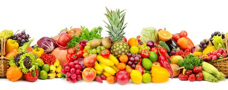Photo pour Seamless horizontal pattern colorful vegetables and fruits isolated on white - image libre de droit