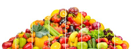 Photo for Pyramid colorful fresh vegetables and fruits divided vertical lines isolated on white background - Royalty Free Image