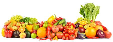 Photo for Panorama of fresh vegetables and fruits isolated on white background. Side view. - Royalty Free Image