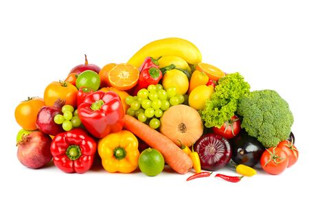 Photo for Big collection delicious wholesome fruits and vegetables isolated on white background. - Royalty Free Image