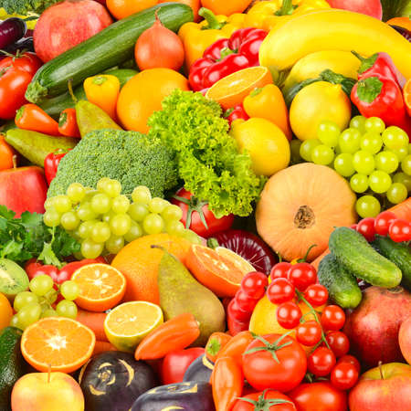 Photo for Square background made of vegetables and fruits. Food concept. Top view - Royalty Free Image