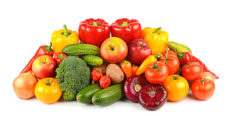 Photo for Composition of ripe and fresh vegetables and fruits isolated on white background. - Royalty Free Image