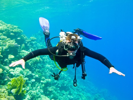 Photo pour Scuba diver under water in the red sea. - image libre de droit